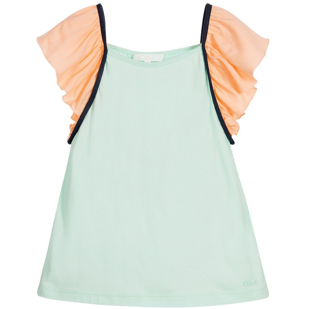 Chloé - Girls Green & Peach Jersey Top | Childrensalon