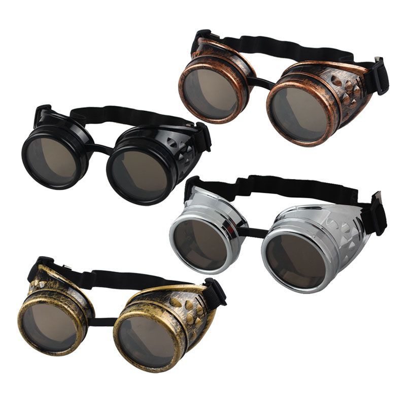 Vintage Steampunk Cyber Retro Gold Goggles /& Black Top Hat Hot Punk Accessory