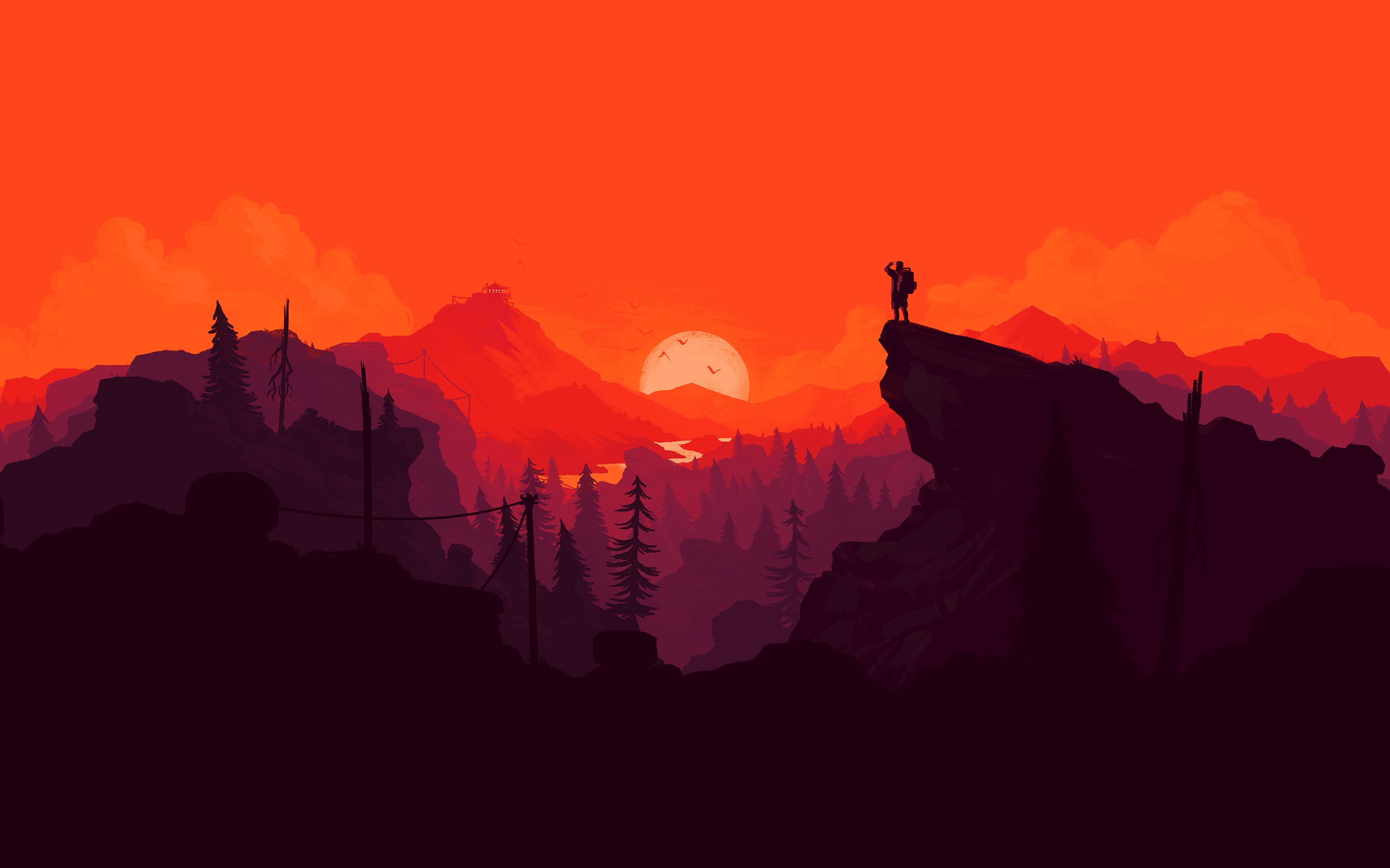 Person Standing On Mountain Cliff Painting Illustration Landscape Digital Art Mountains Firewatch Video Games Nature A Illustration Art Art Wallpaper Art