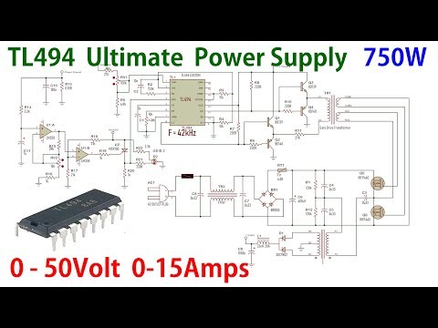 Tl494 Ultimate Adjustable Power Supply 0 50v 0 15amps 750watt Youtube Power Supply Power Supply Circuit Power