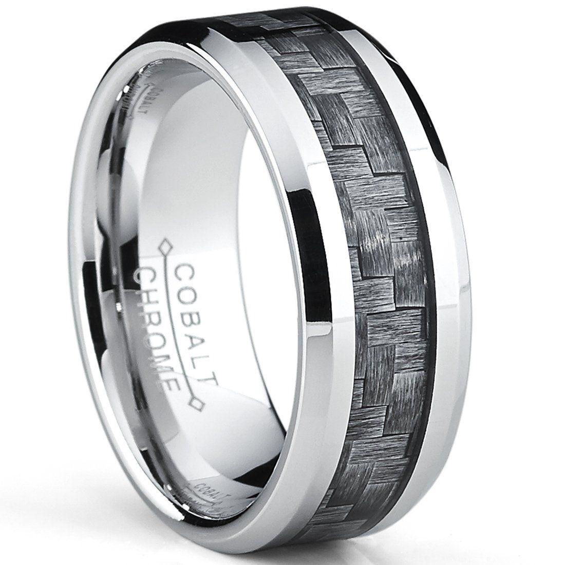 High Polish Cobalt Men's Wedding Band Engagement Ring W/ Gray Carbon Fiber Inlay, Comfort Fit SZ 7