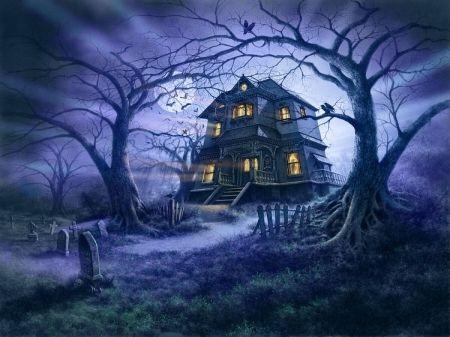 haunted house spooky bats fantasy halloween dark moon house scary graveyard