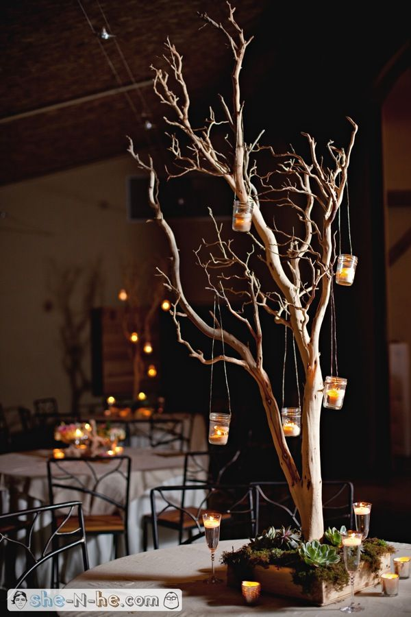 Some of the centerpieces will be tall manzanita trees with