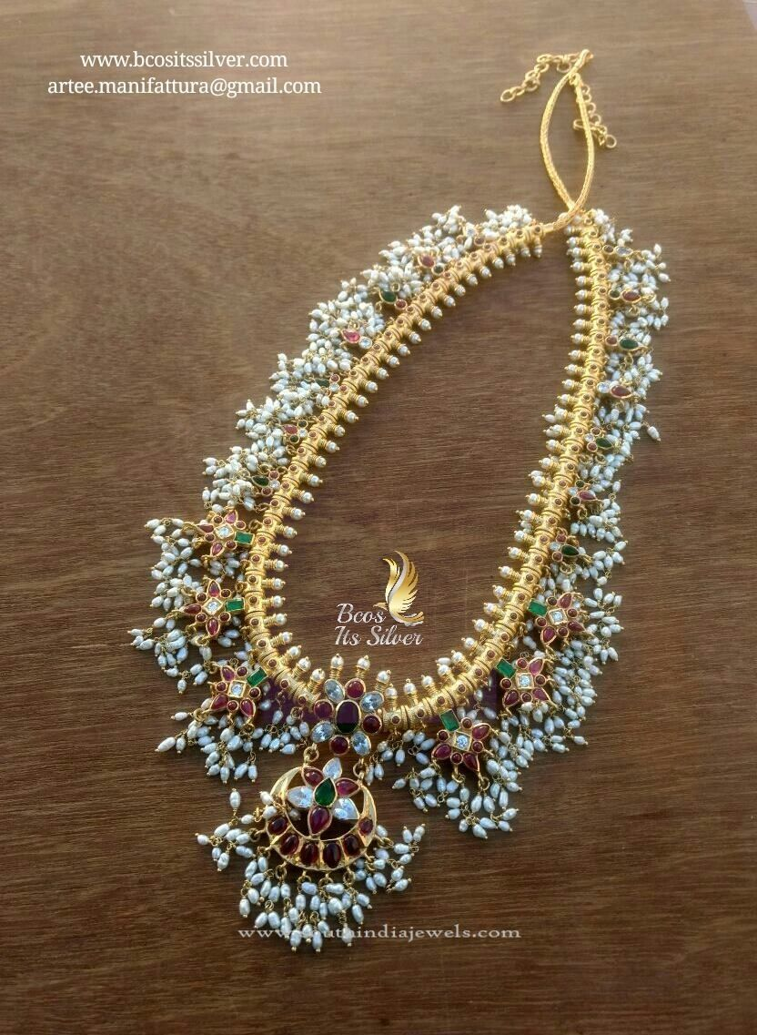 Gold Plated Pure Silver Guttapusalu Haram  Long Necklace Collections  Gold plated necklace