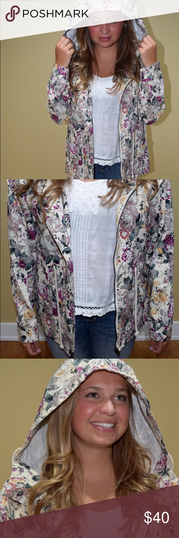Margot Floral Lightweight Jacket Lightweight jacket with zipper and button front featuring a drawstring hood. Urban Outfitters Jackets & Coats Utility Jackets
