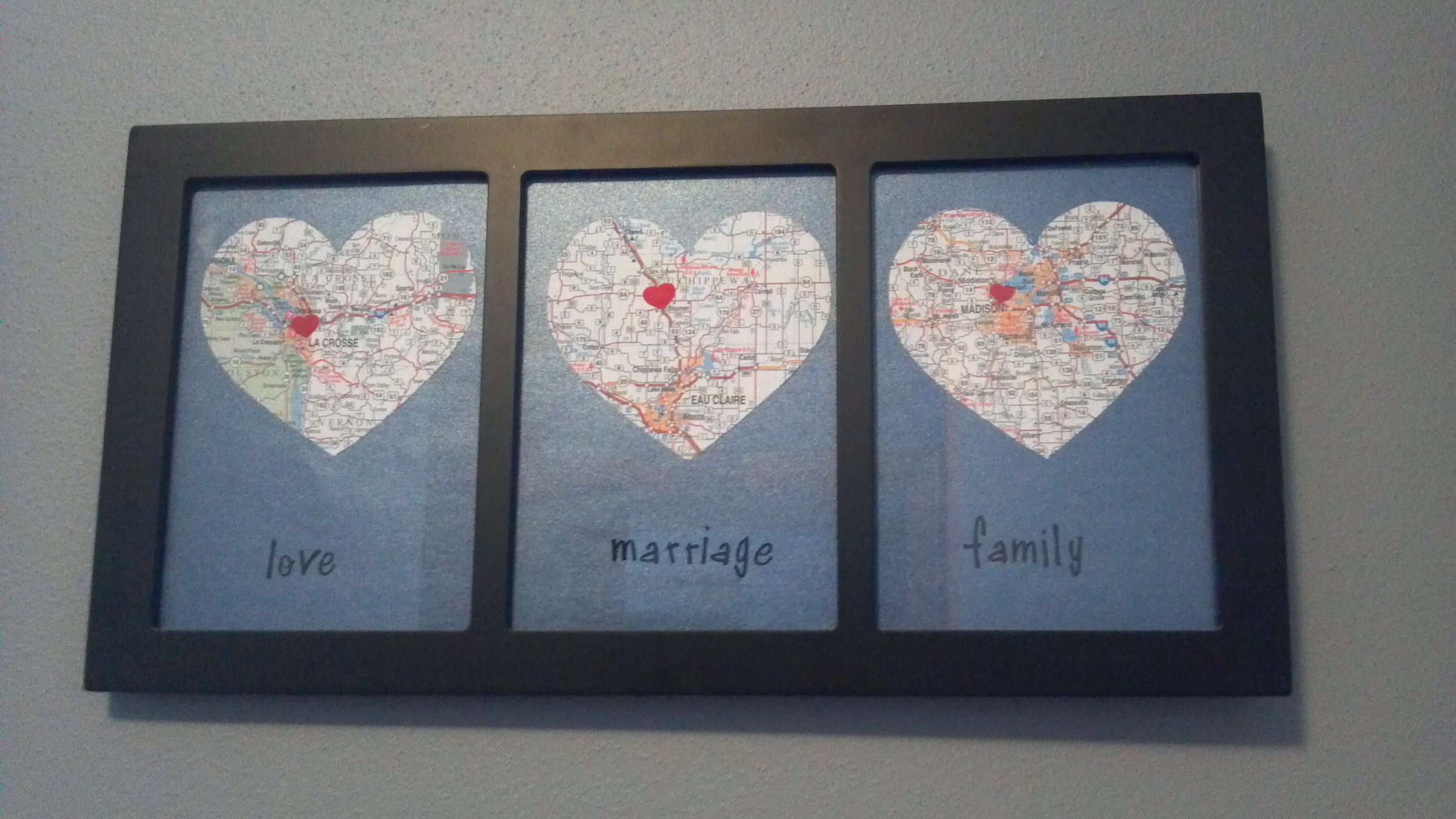 Saw this idea loved it and had to do it myself maps of where we saw this idea loved it and had to do it myself maps of where we met where we got married and where we live bought a state map cut out a he solutioingenieria Image collections