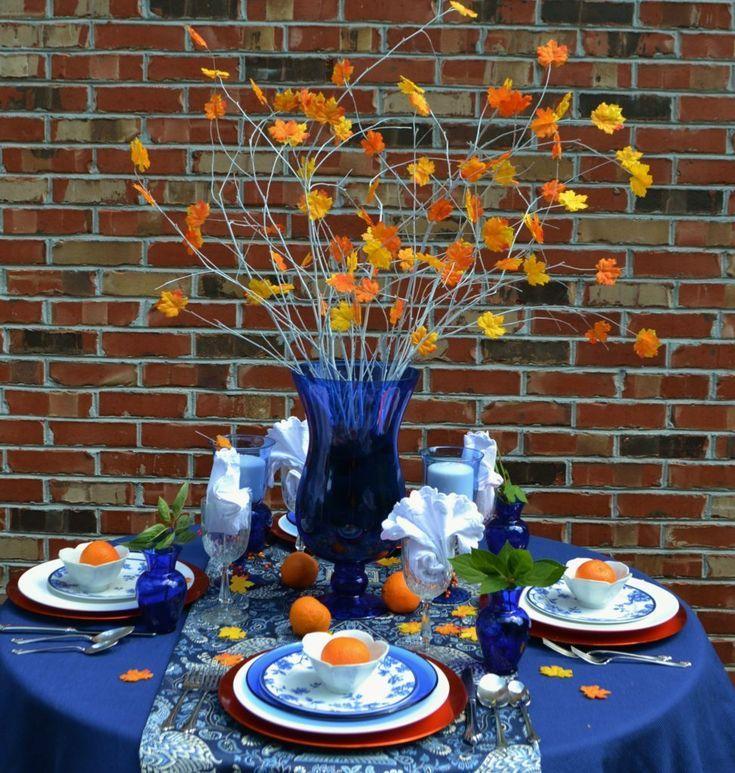Cobalt Blue and Orange Table Ideas images