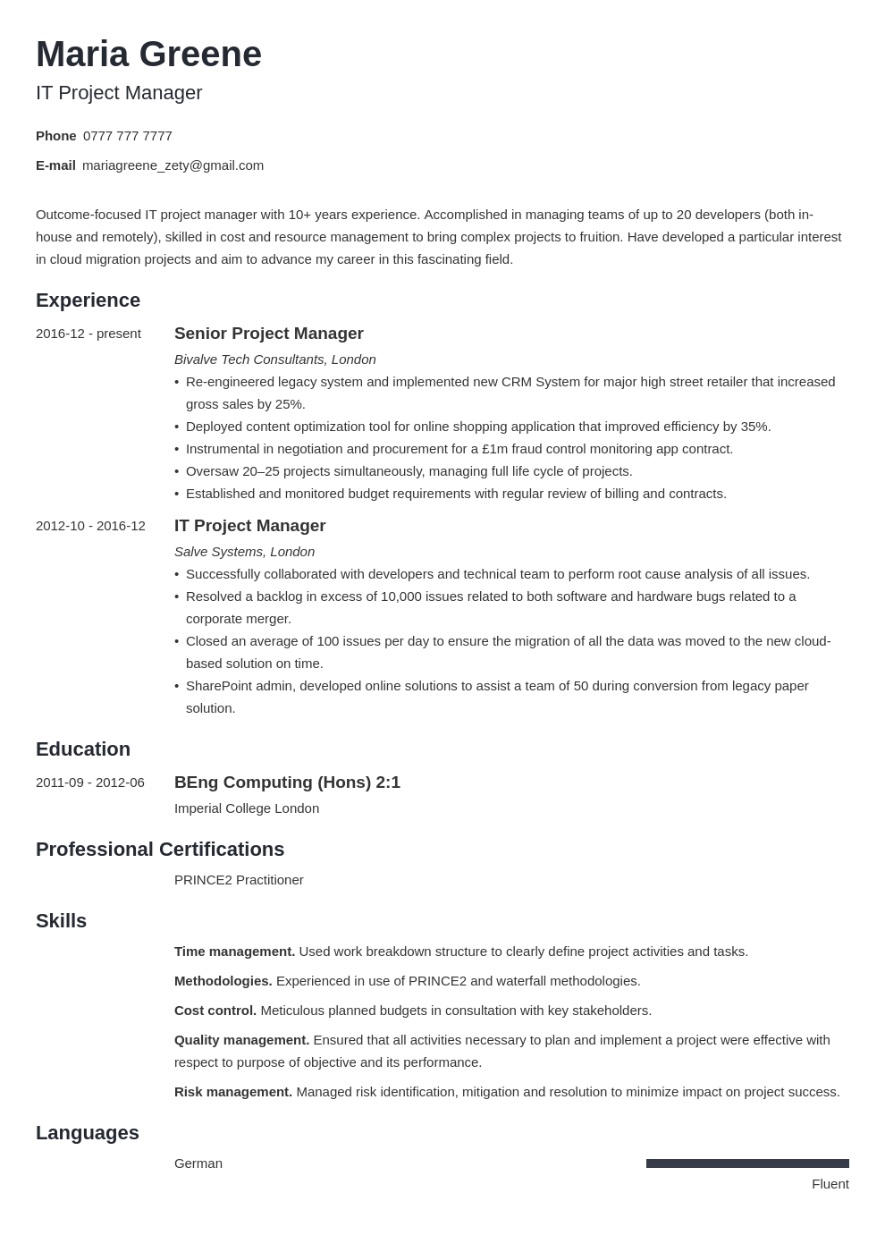 uk project manager cv example template minimo in 2020
