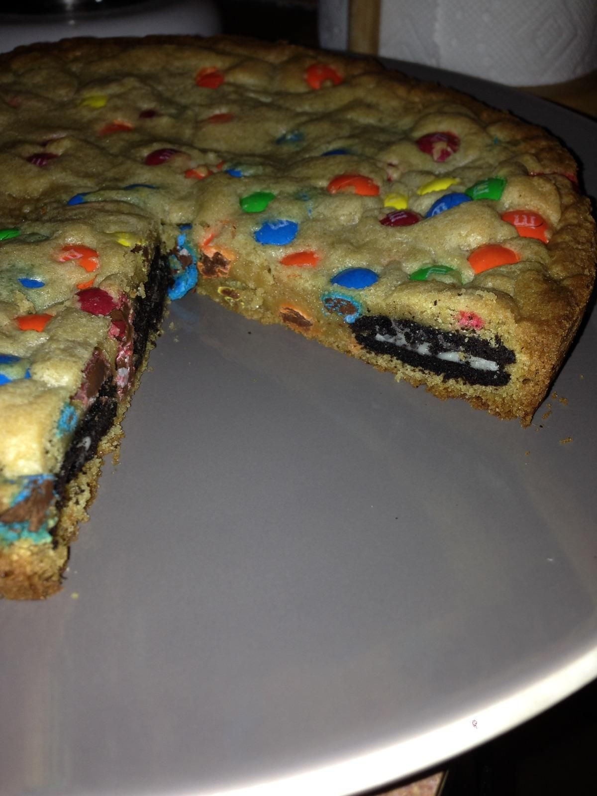 My girlfriend just made this Oreo and mm stuffed cookie Soooooooo