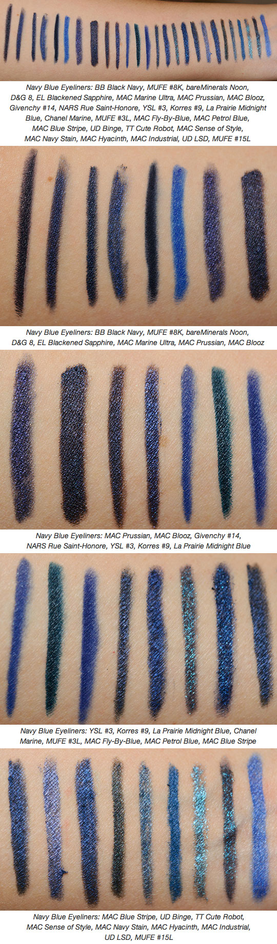 navy blue eyeliners swatches dupes and comparisons pinterest maquillaje. Black Bedroom Furniture Sets. Home Design Ideas