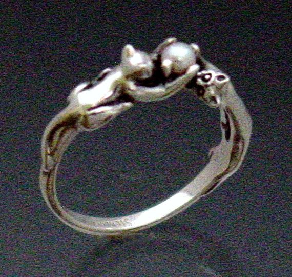 Two Cats Ring with Pearl Size 3 to 8 3/4 by SheppardHillDesigns