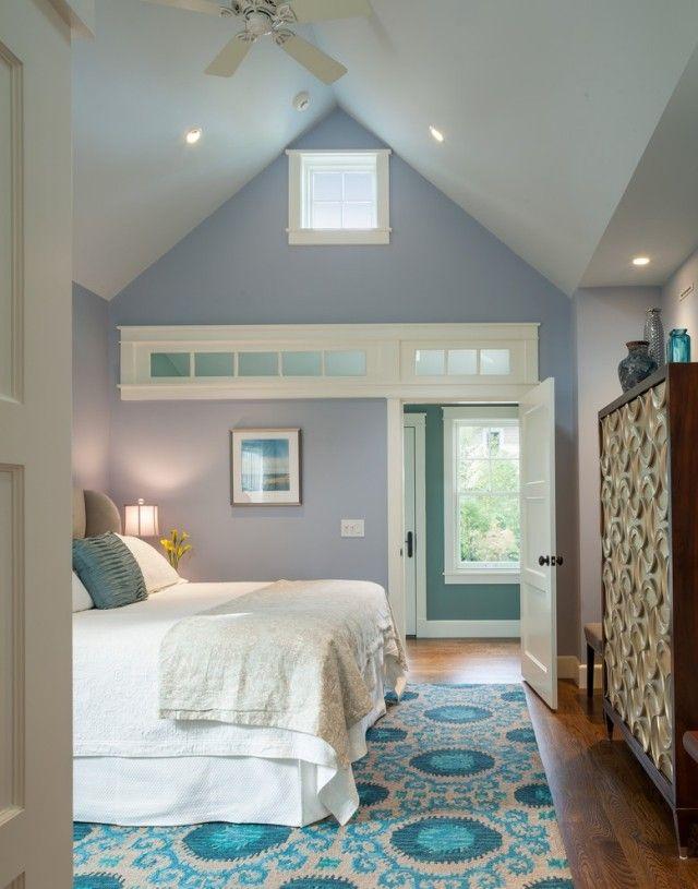 Blautöne für Schlafzimmer Wände-weiße Bettwäsche-gemustert Teppich - teppich für schlafzimmer