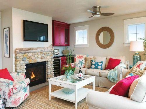 Sandy Beige Red Amp Aqua Coastal Living Room Cottage