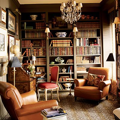 Image Detail For  . Home Library Decorating Ideas Shelves Den  Study Leather Chairs Office