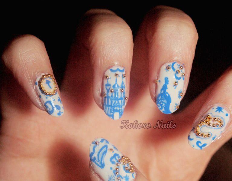 kokoro nails: DISNEY CINDERELLA NAIL ART : a nail art blog by a nail polish - Kokoro Nails: DISNEY CINDERELLA NAIL ART : A Nail Art Blog By A