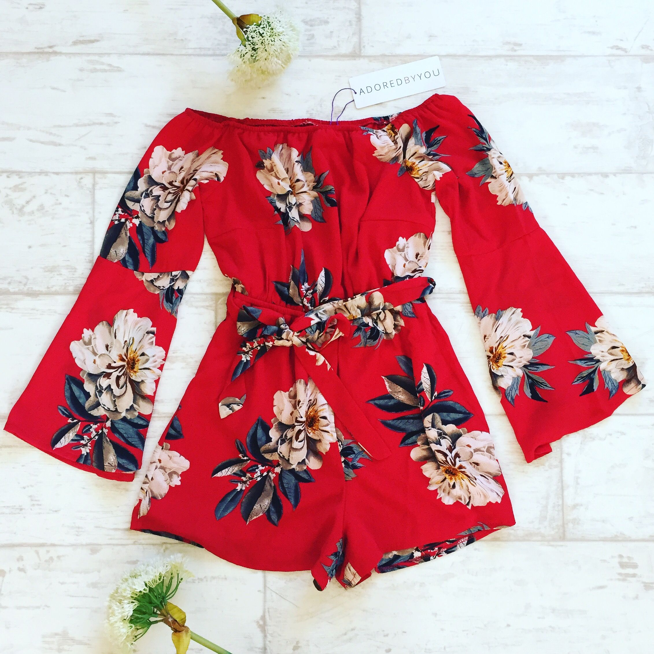 b44352c73b0 Adored By You Red Floral Print Bardot Playsuit £29.99 holiday fashion