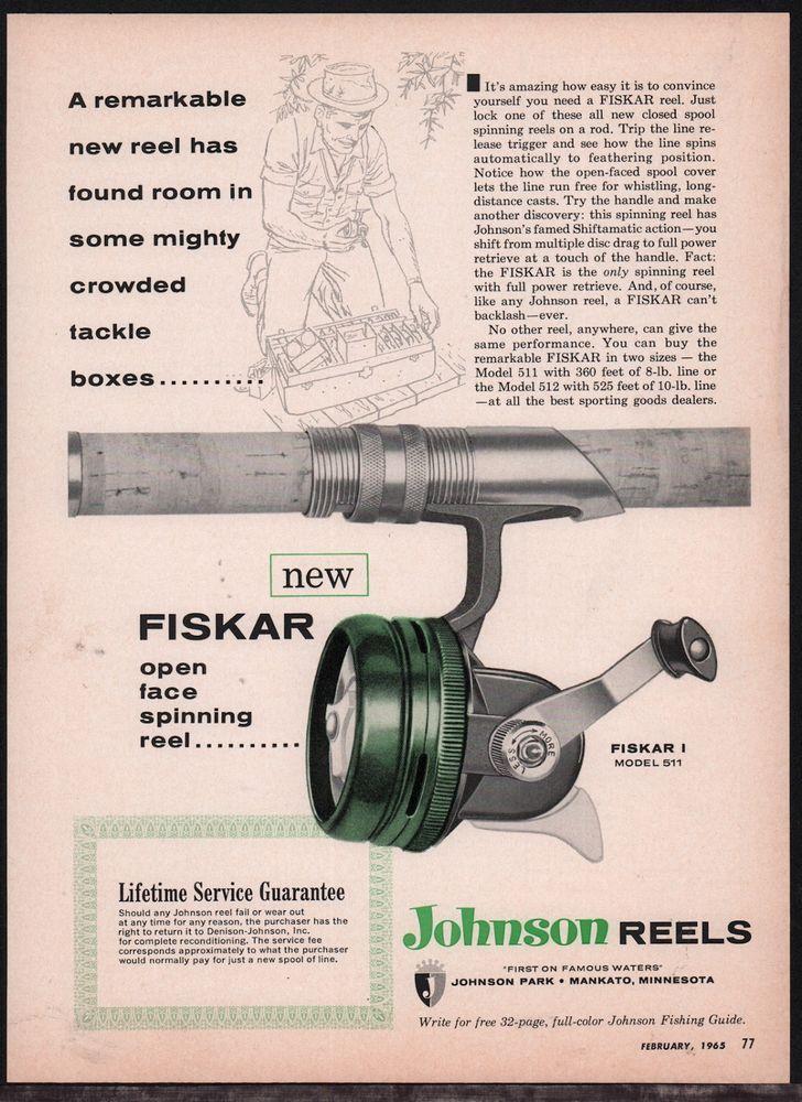 1965 Johnson Fiskar I Model 511 Spinning Reel Print Ad Fishing