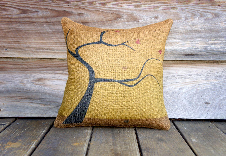 Fall pillow cover yellow burlap throw pillow decorative