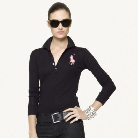 d2d9ae8b4e67 Ralph Lauren Pink Pony Pink Pony Longsleeved Polo in Black - Lyst ...