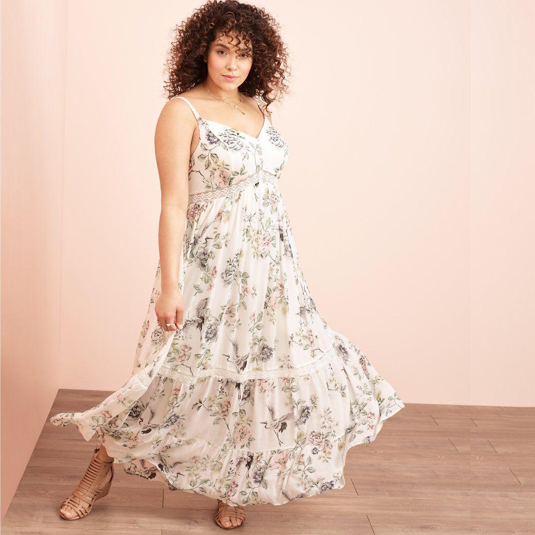 Tiered Ivory Floral Boho Chiffon Maxi Dress Torrid Plus Size