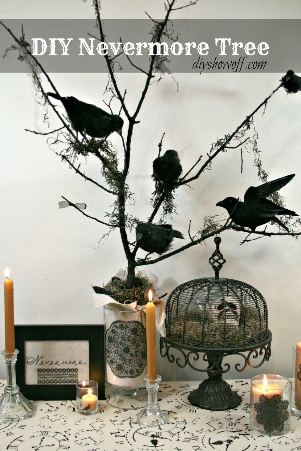 Diy Halloween Nevermore Tree Decor Linkie Parties