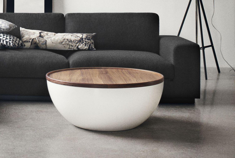 Bowl Coffee Table O90 Rikke Frost Veneer Matt Lacquered Walnut In