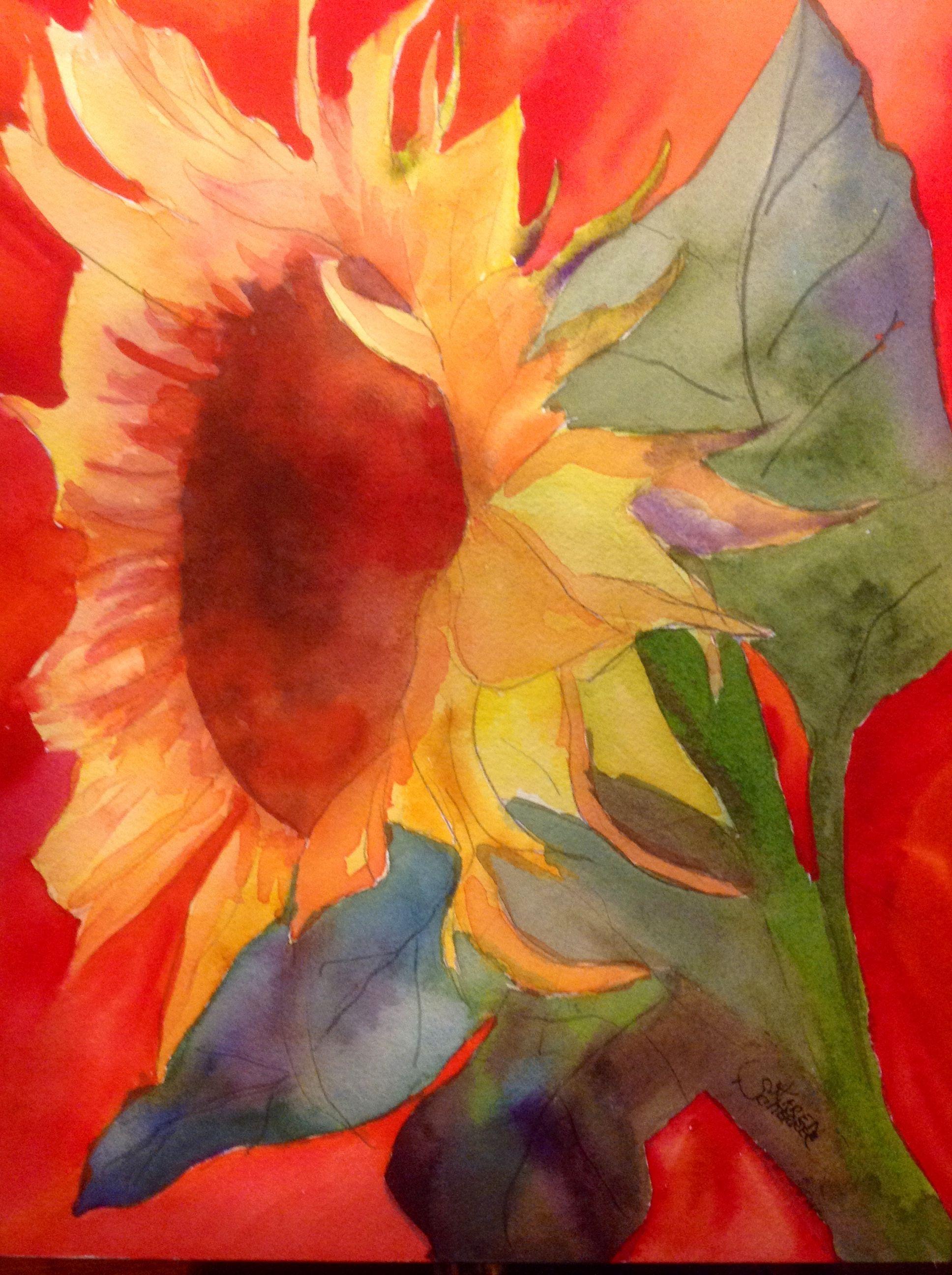Watercolor artists in texas -  Hot Sunshine By Texas Watercolor Artist Karen Scherrer