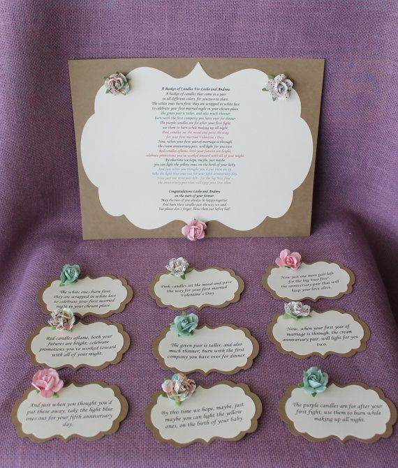 Gift Basket For Bride And Groom Wedding Night: Wedding Shower Candle Poem Tag Set. Bridal Candle Basket