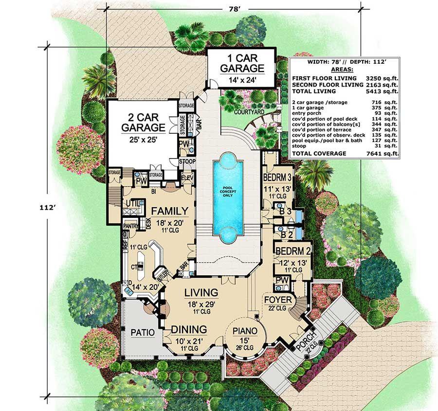 Plan 36143tx Mediterranean With Central Courtyard Luxury Plan Mediterranean Style House Plans Courtyard House Plans