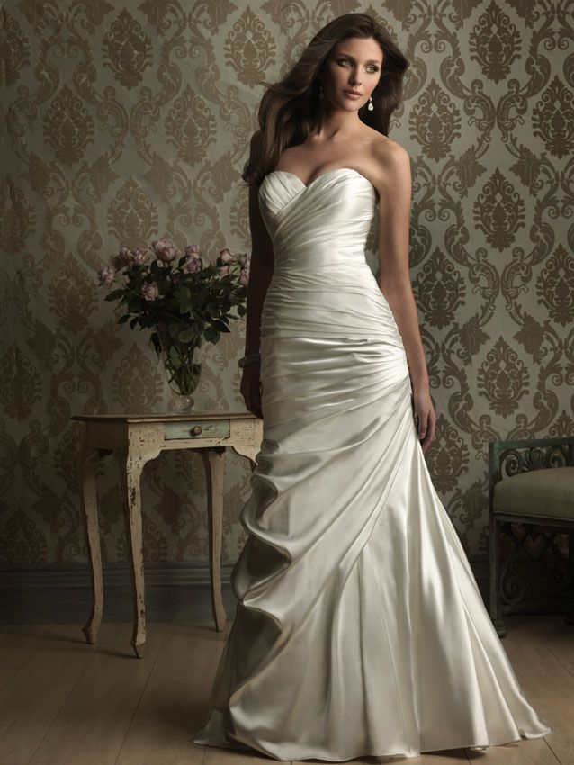 Heaven lights up when you wear Allure Bridals 8861 in charmeuse and draped exquisitely for show. The slender A line wedding dress is absolutely gorgeous and you can't imagine how any other dress would suit you. The draping is divine and swirls across the dress elegantly. #timelesstreasure