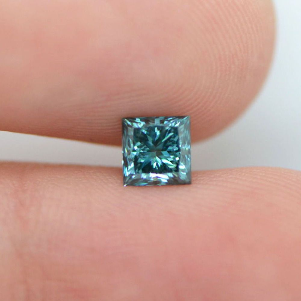 0.72 Blue Color VS2 Princess Natural Enhanced Loose Diamond For ...