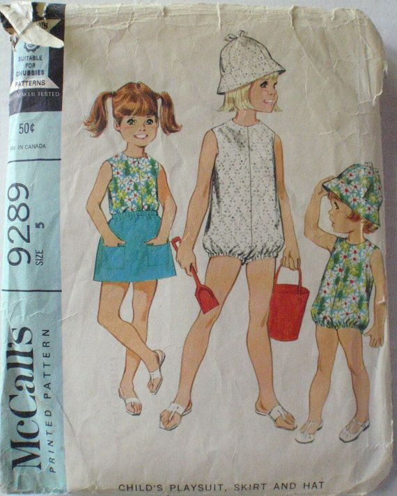 Vintage Child\'s Sewing Pattern Girl\'s Playsuit by Shelleyville ...