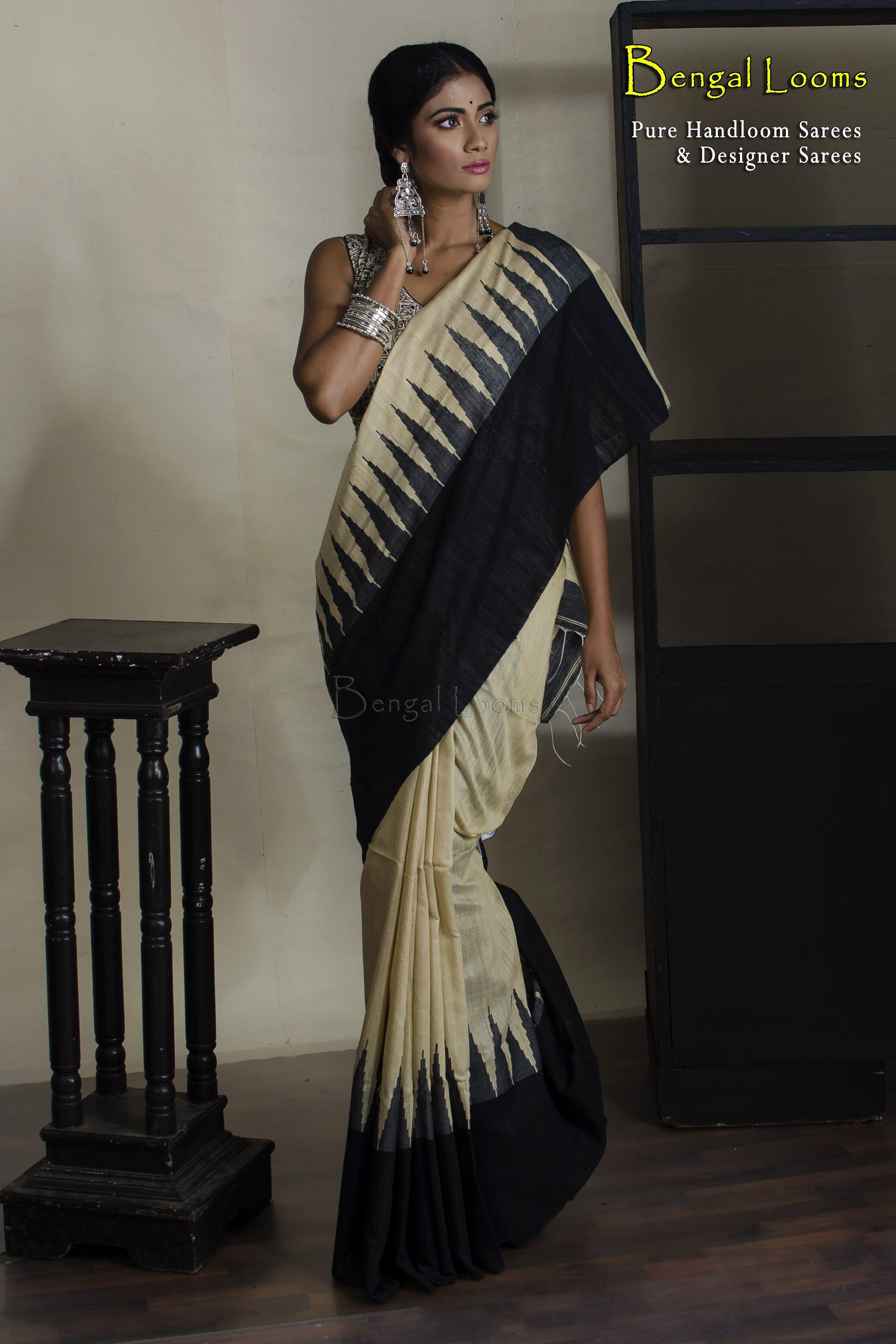 f3ae153e11280a Handloom Khadi Tussar Silk Temple Border Saree in beige and black color  combination