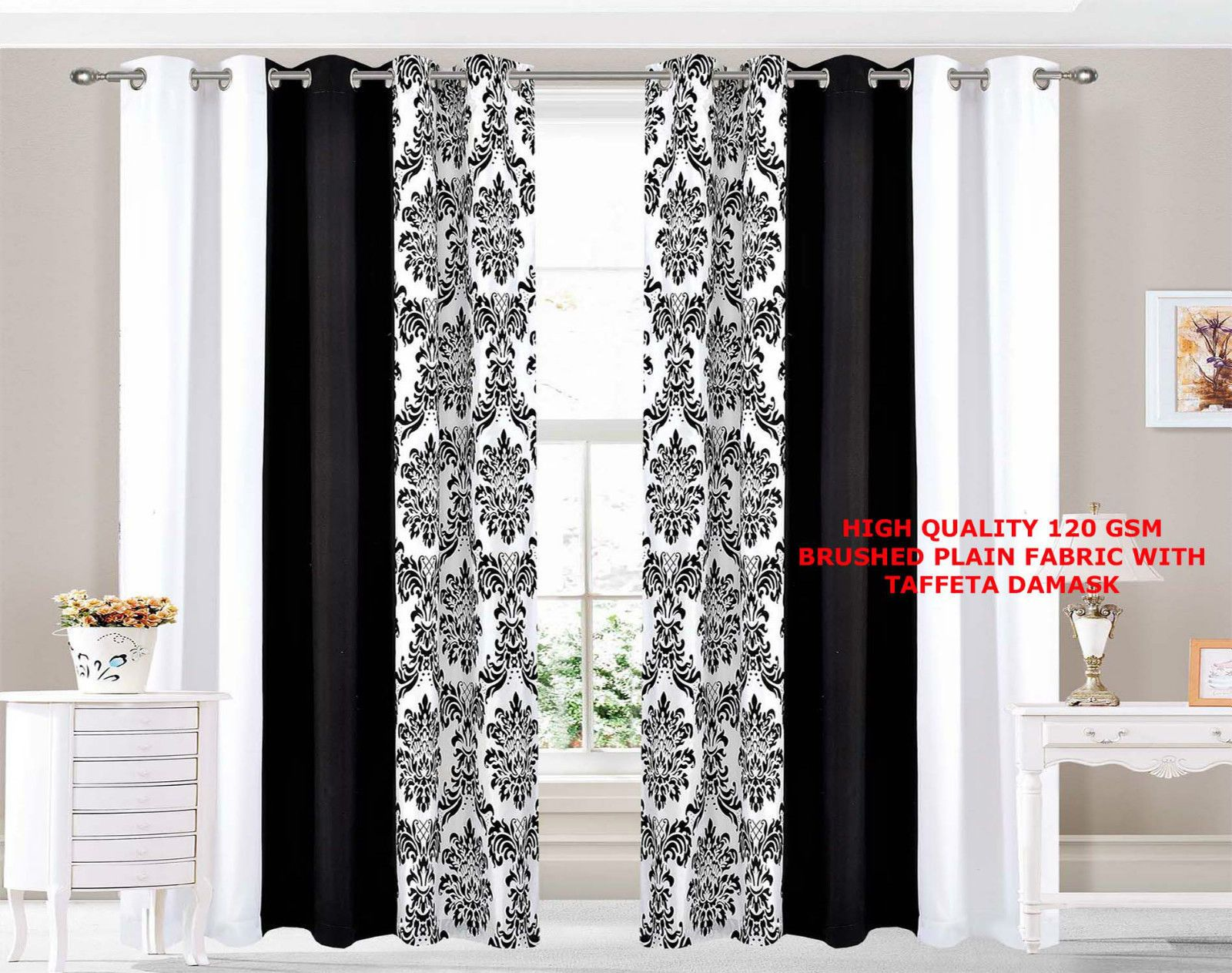 Damask 3 Tone Flock Ring Top Fully Lined Pair Eyelet Window Curtains Black White Black Curtains Curtains With Rings White Damask