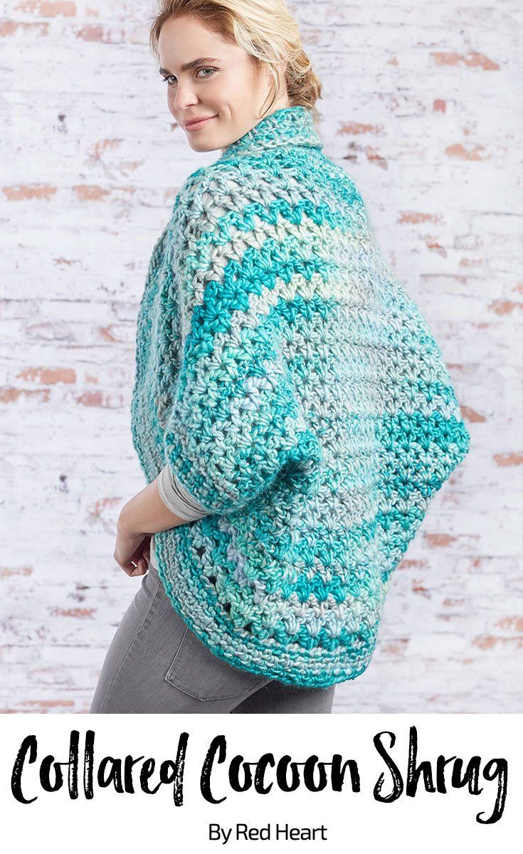 Collared Cocoon Shrug free crochet pattern in Evermore yarn ...