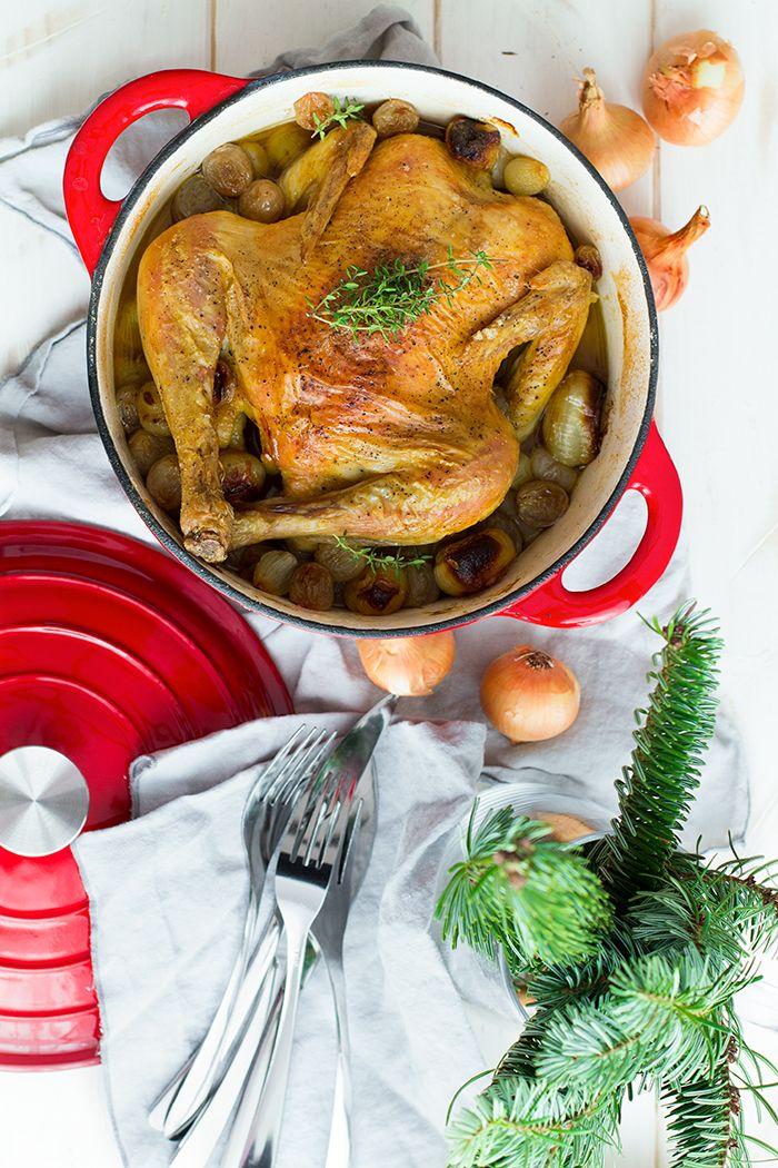 pollo asado con salsa a la sidra