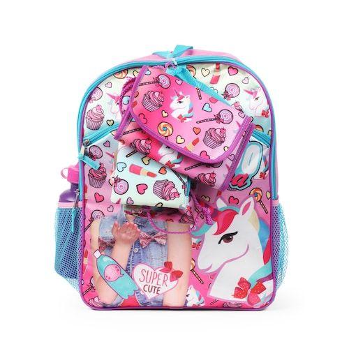cfd709f7ff Kids JoJo Siwa Backpack, Lunch Bag, Pencil Case, Water Bottle & Sling Bag  Set