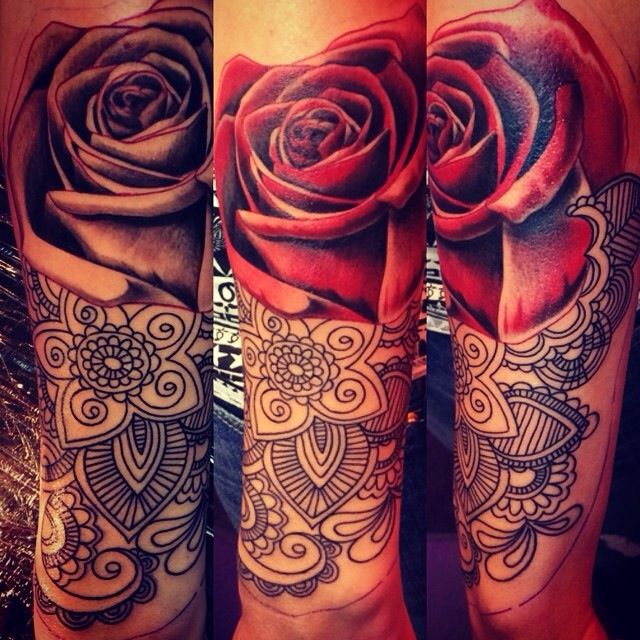 Henna Tattoo Colors : Realistic red rose with henna tattoo linework color