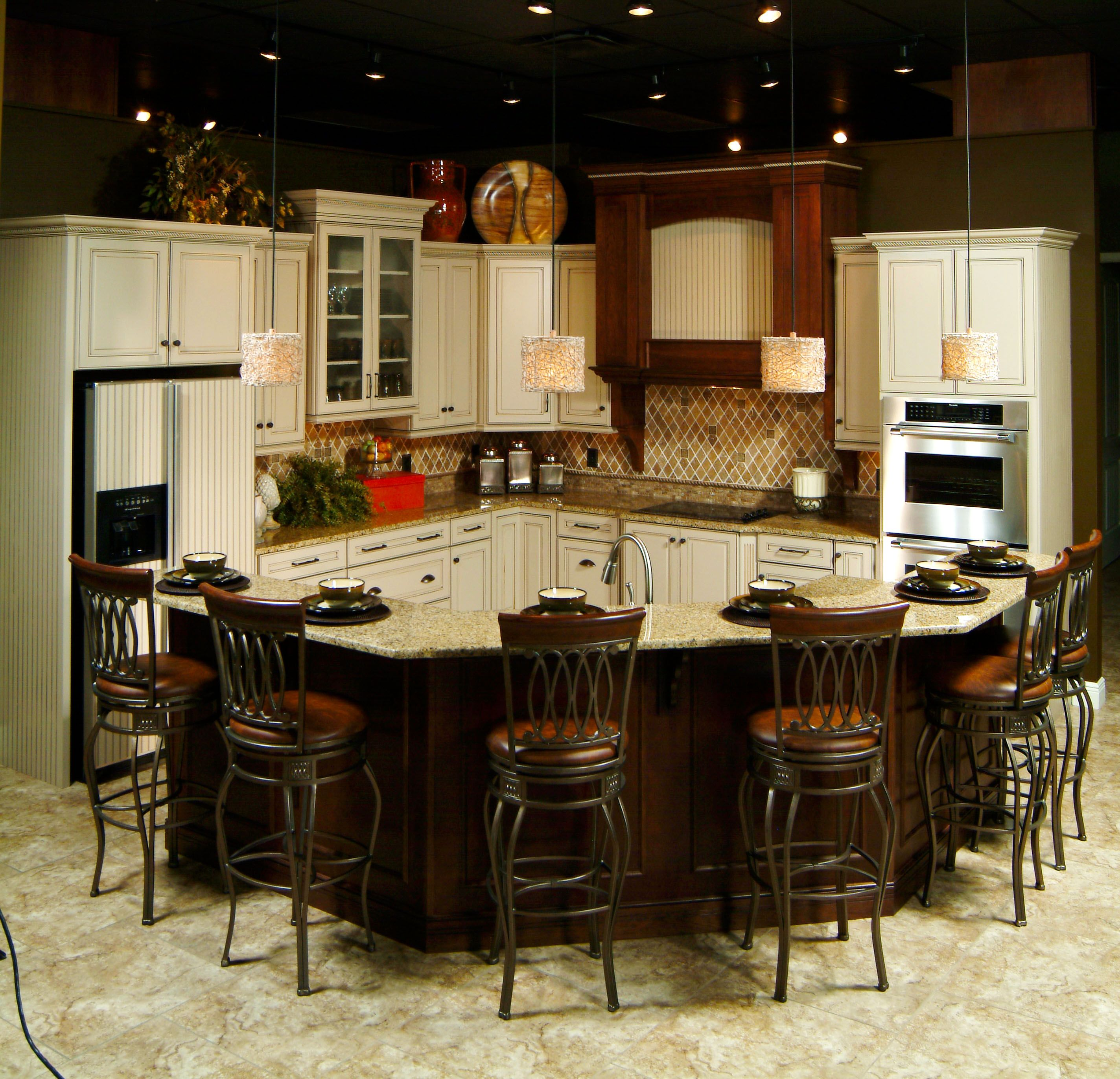 Kitchen Cabinet Features: One Of Our Showroom Designs. This Kitchen Features Brown Baroque Granite, Monterey Style Cabinet