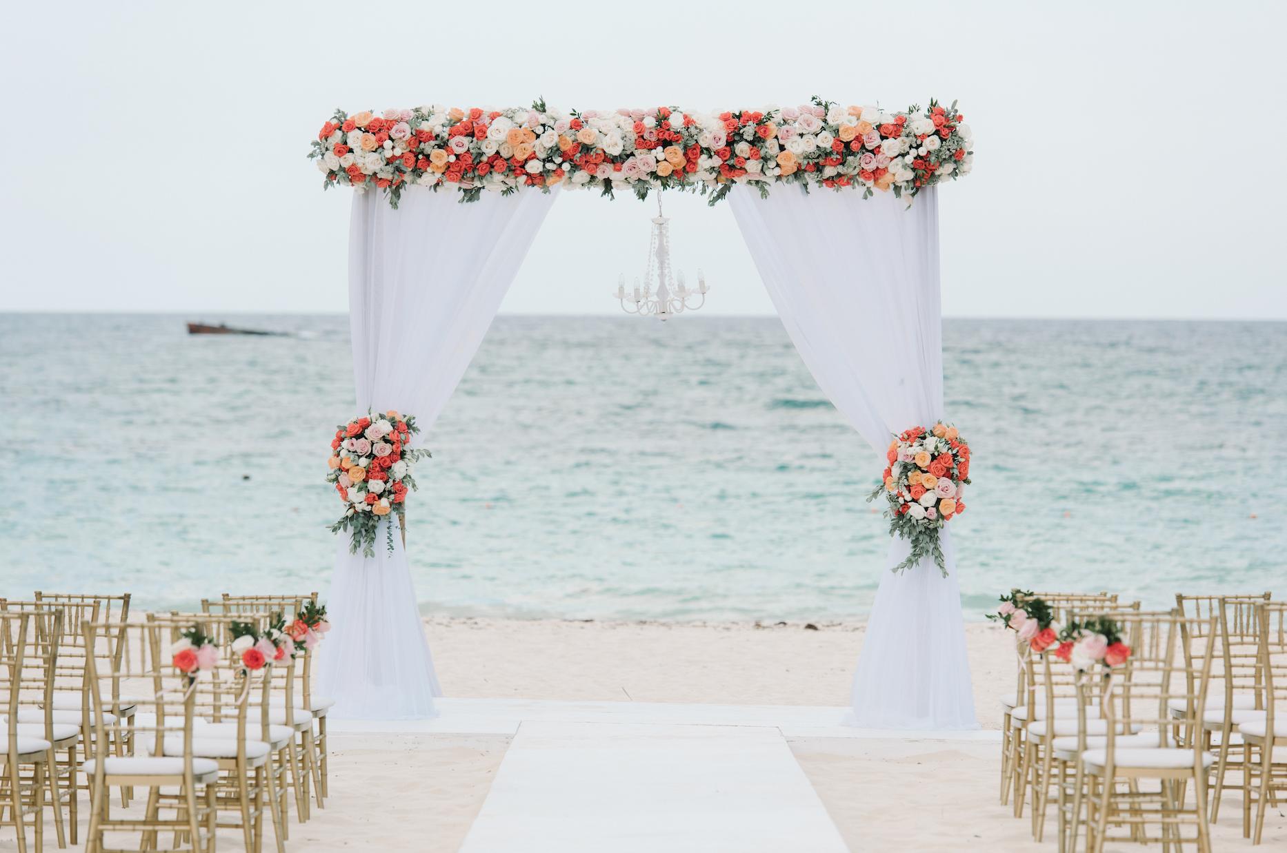 Set Against The Blue Sea This Beach Wedding Gazebo Is Totally