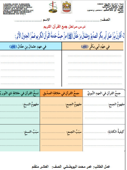 ورقة عمل مراحل جمع القرآن الصف العاشر مادة التربية الاسلامية Education