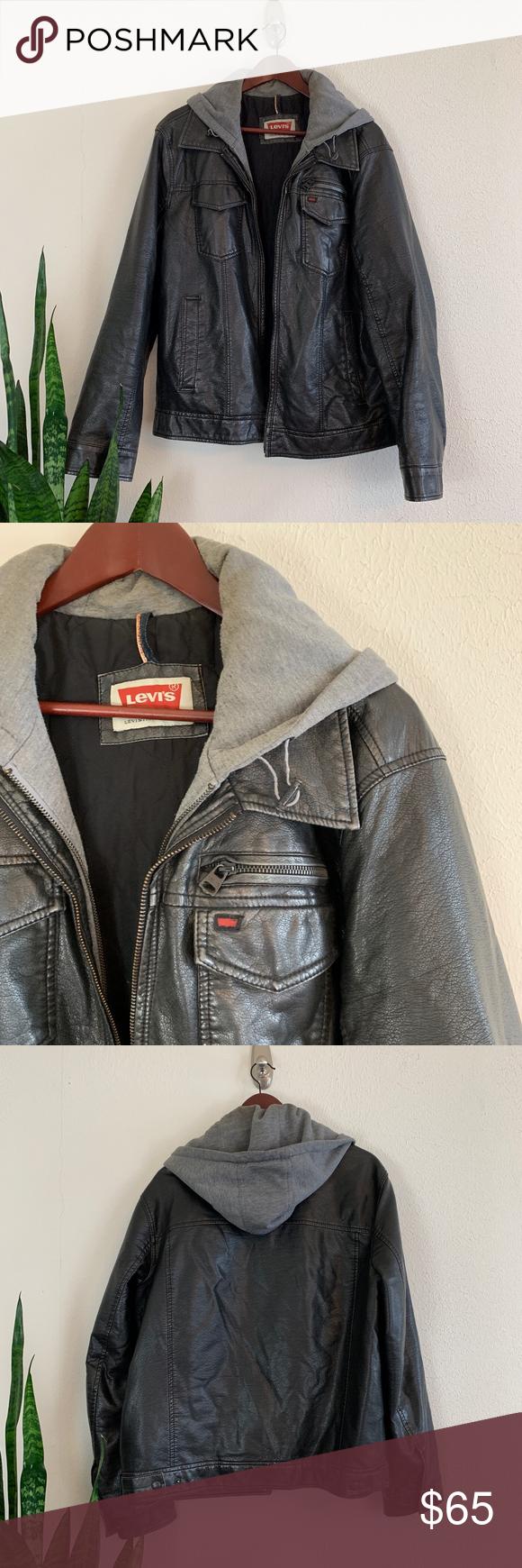 Levi S Men S Faux Leather Black Trucker Jacket Levi S Men S Faux Leather Two Pocket Trucker Hoodie Jacket With Quilted Li Leather Jacket Trucker Jacket Jackets [ 1740 x 580 Pixel ]