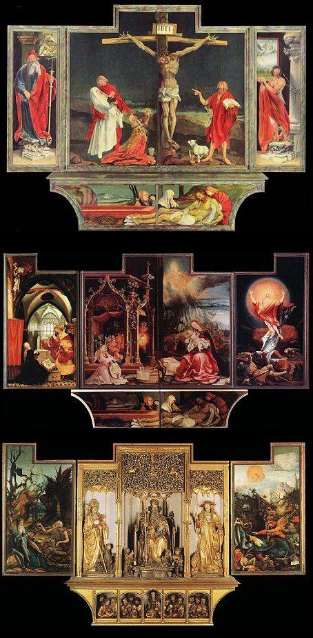 """Mathias Grunewald-- """"The Isenheim Altarpiece"""" (ca 1510-1515)--Oil on panel--Isenheim, Germany"""