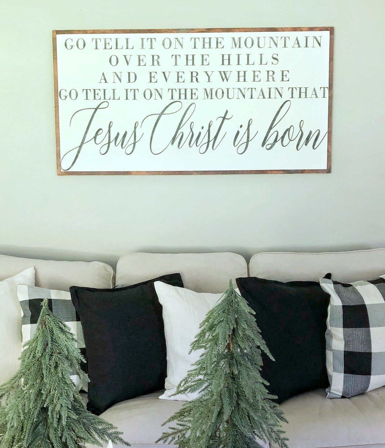 Go Tell It On The Mountain Large Christmas Sign Extra Large Framed Sign Christmas Song Sign Christmas Wal Christmas Wall Decor Christmas Signs Mantle Decor