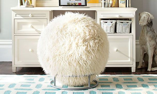 Wow. A White Fuzzy Bouncy Ball For A Chair. Kinda Fun. Pottery Barn Teen