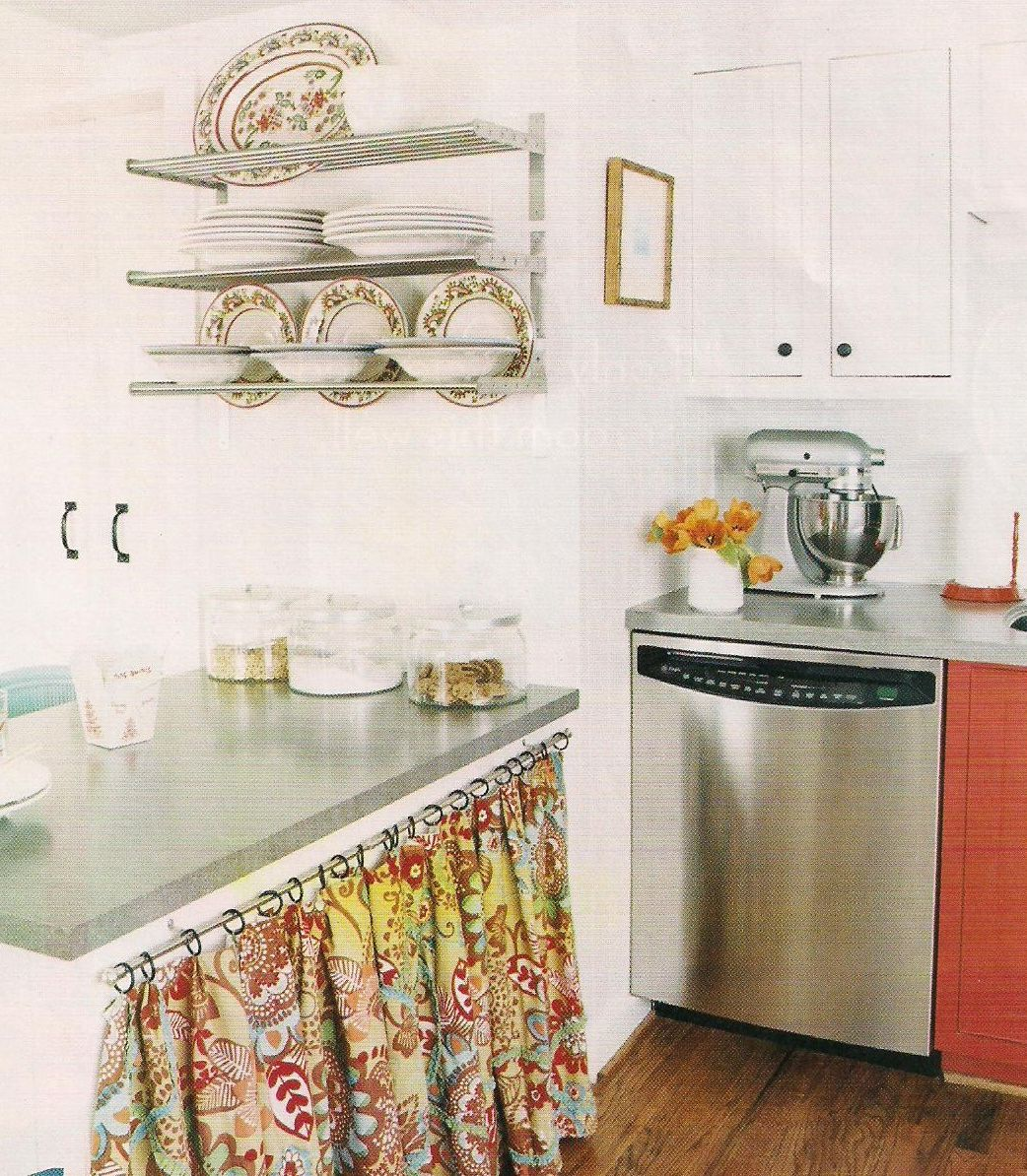 Under Counter Curtains Open Wall Shelf Love The Way The Big Serving Platter And Soup Bowls Totally Match The Kitchen Remodel Home Kitchens Kitchen Cabinets