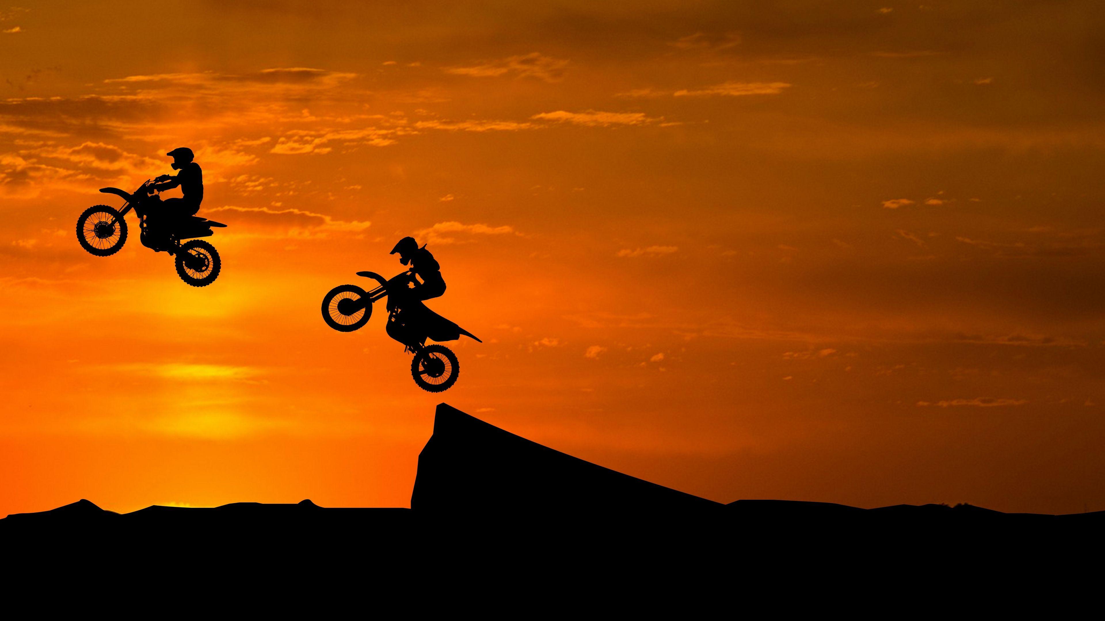 Motorcyclist Silhouettes Trick Hill 4k 4k Hd Wallpapers Sunset Silhouette Motocross Stunt Bike