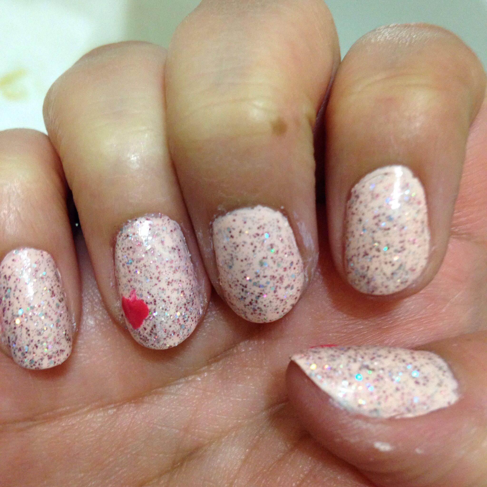 Day one of feb nail art glitter valentine nails | Stuff I\'ve Done ...