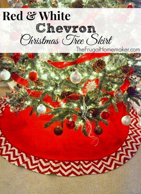 Red  White Chevron Christmas Tree Skirt Lumberjack Christmas