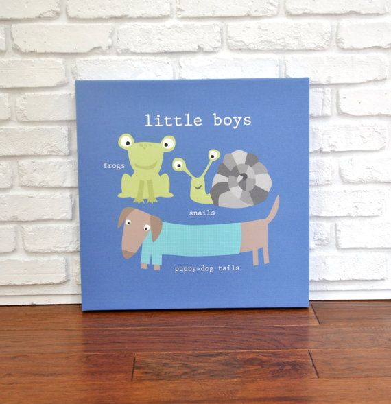 Frogs Snails and Puppy Dog Tails  Canvas by VickyBaroneDesigns, $99.00
